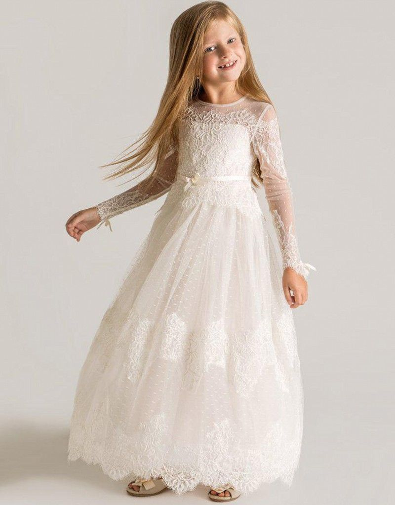 Click to buy ucuc long sleeve princess flower girls dresses appliques