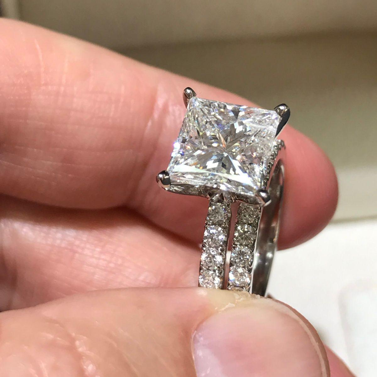 ct princess diamond engagement ring u wedding band set k white