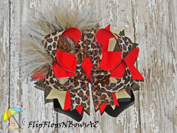 FREE SHIPPING Leopard Print Red and Black by FlipflopsnbowsAZ, $10.00