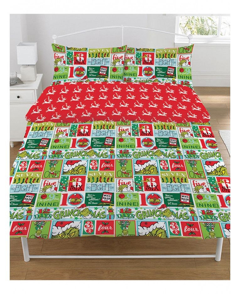 This The Grinch 12 Days Of Christmas Double Duvet Cover Set Features