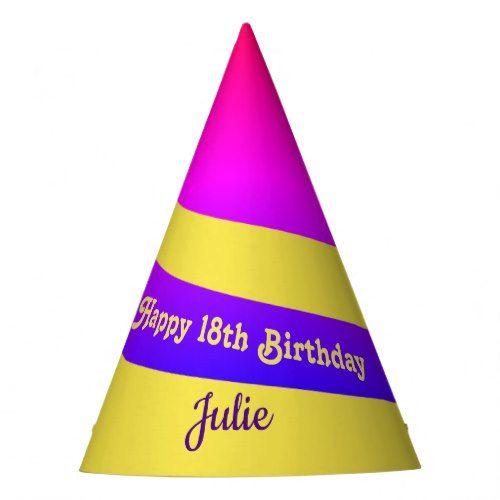 Spiral Unicorn Horn Birthday Party Hat Neon Glam