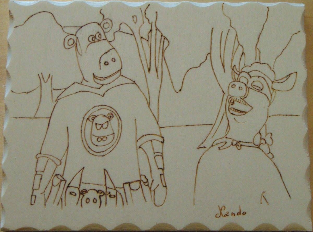 L'uomo mucca Multistrato di pioppo 20x15
