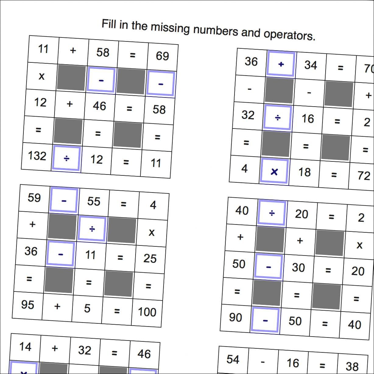 Math Worksheets Grid Puzzle Worksheets With All