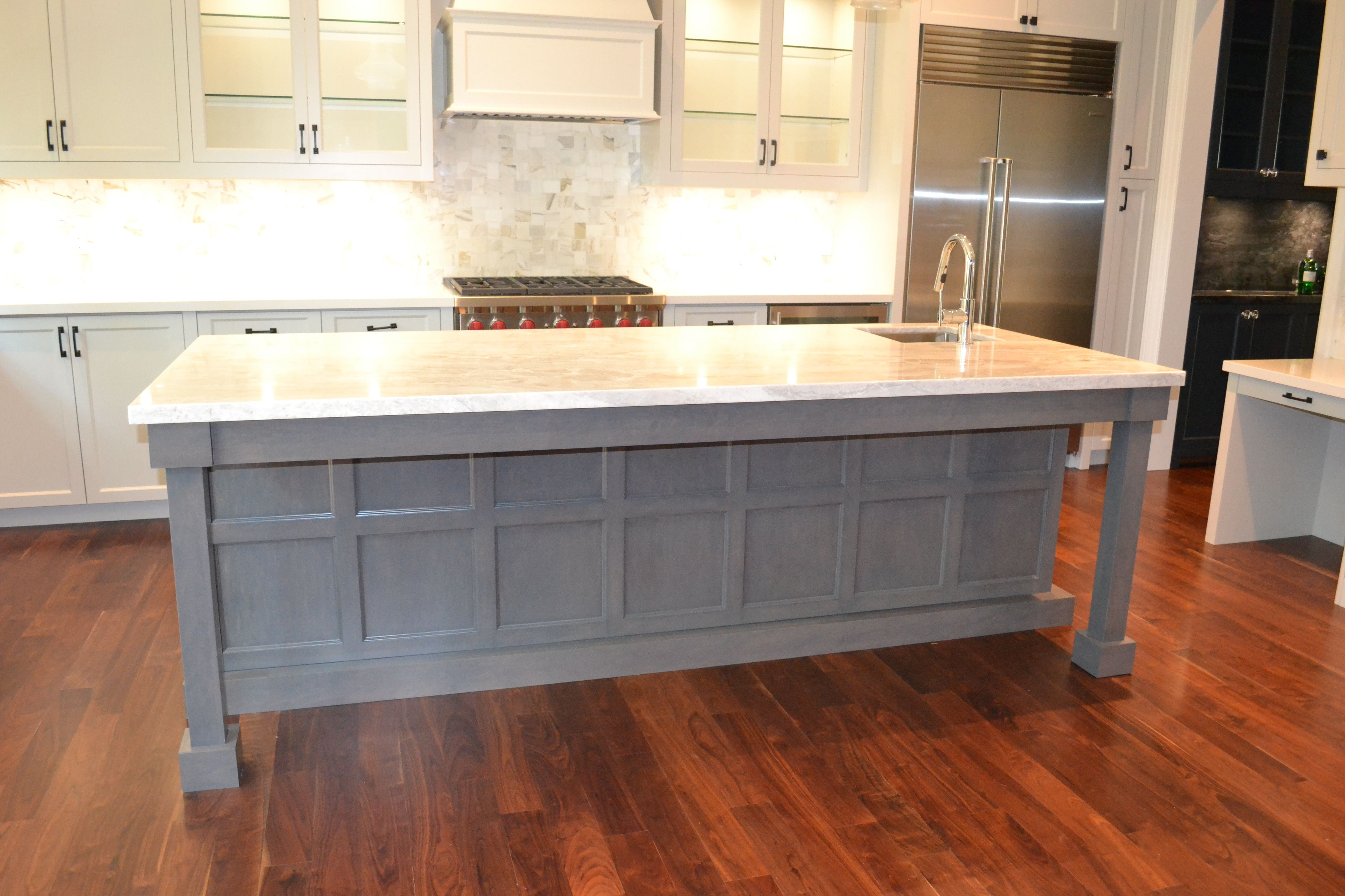 Perfect 10 Design Custom Maple Grey Stained Island with