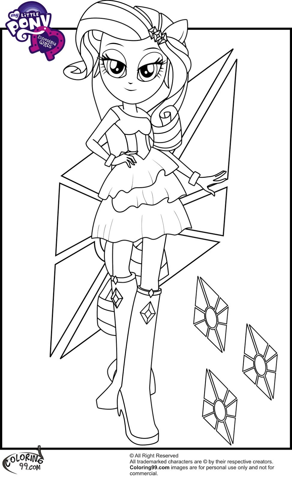 Mlp Rarity Equestria Girls Coloring Pages My Little Pony
