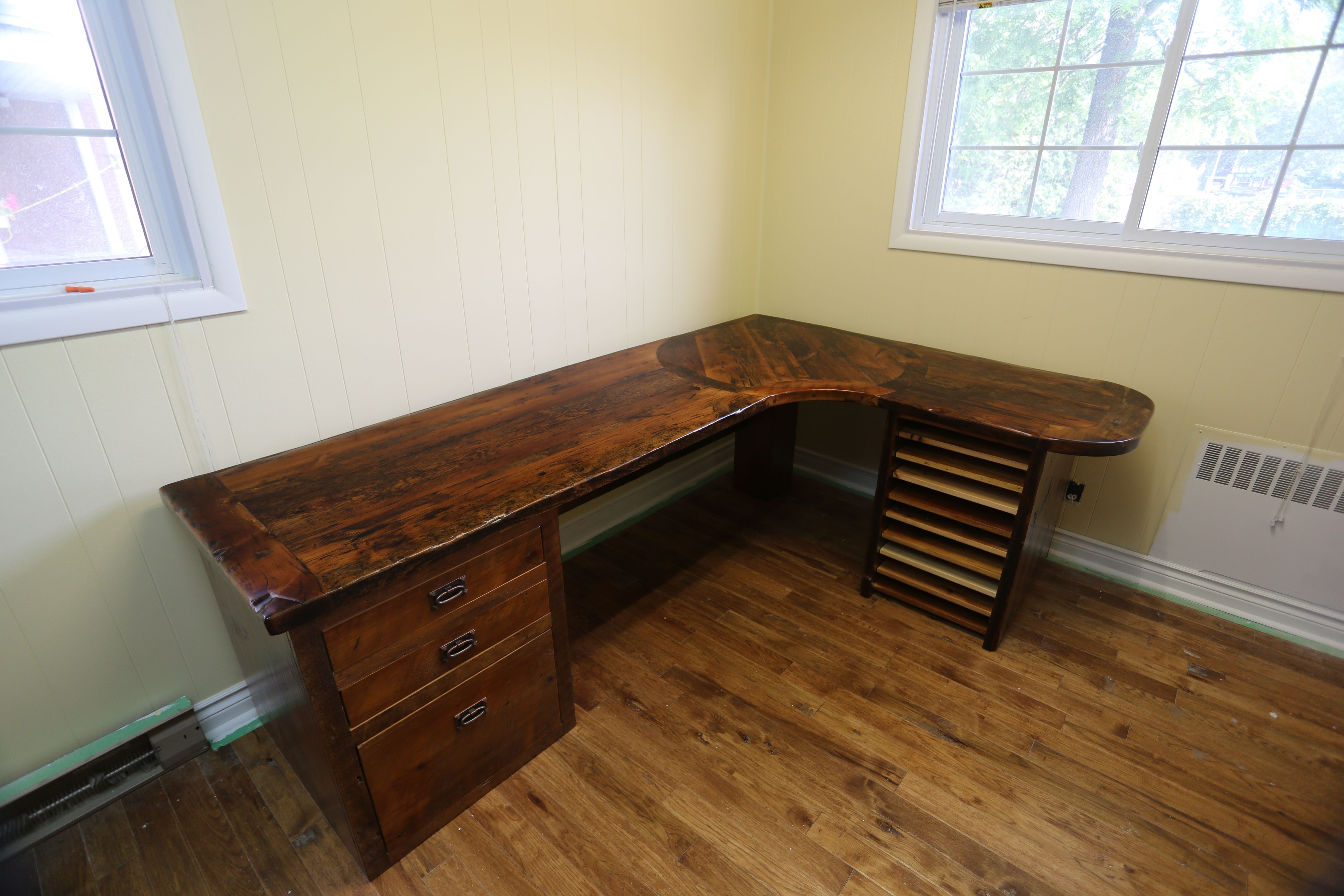 desk with rustic glass wood skookum legs top cheap ingenuity metal reclaimed and