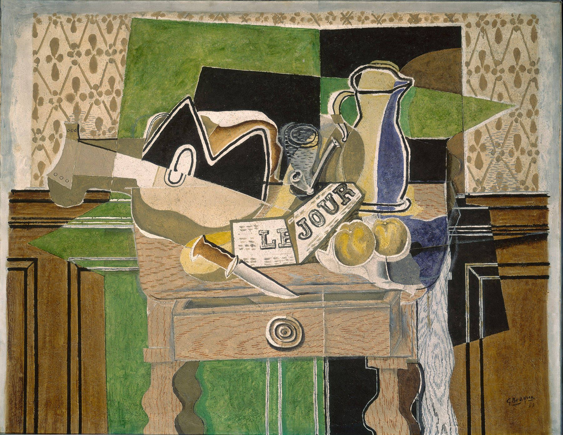 Fruit Dish   by Georges Braque    Giclee Canvas Print Repro