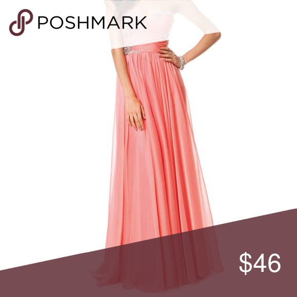 Peachy Keen Colors Long Dress #1190 Prom Ball Gown Colors Size 4 Beautiful maxi gown Peach color Skirting has a double layer beneath for comfortable movement  and a sheer top layer. Flows nicely as you walk Will need cleaning the hem has a small mark or 2 that will come out. This dress was worn once. A couple of the stones are loose will need a couple of stitches. Perfect for any formal or dressy occasion:  party, ball, gathering, wedding, prom Pageant.  Measurements laying flat not stretched Ch