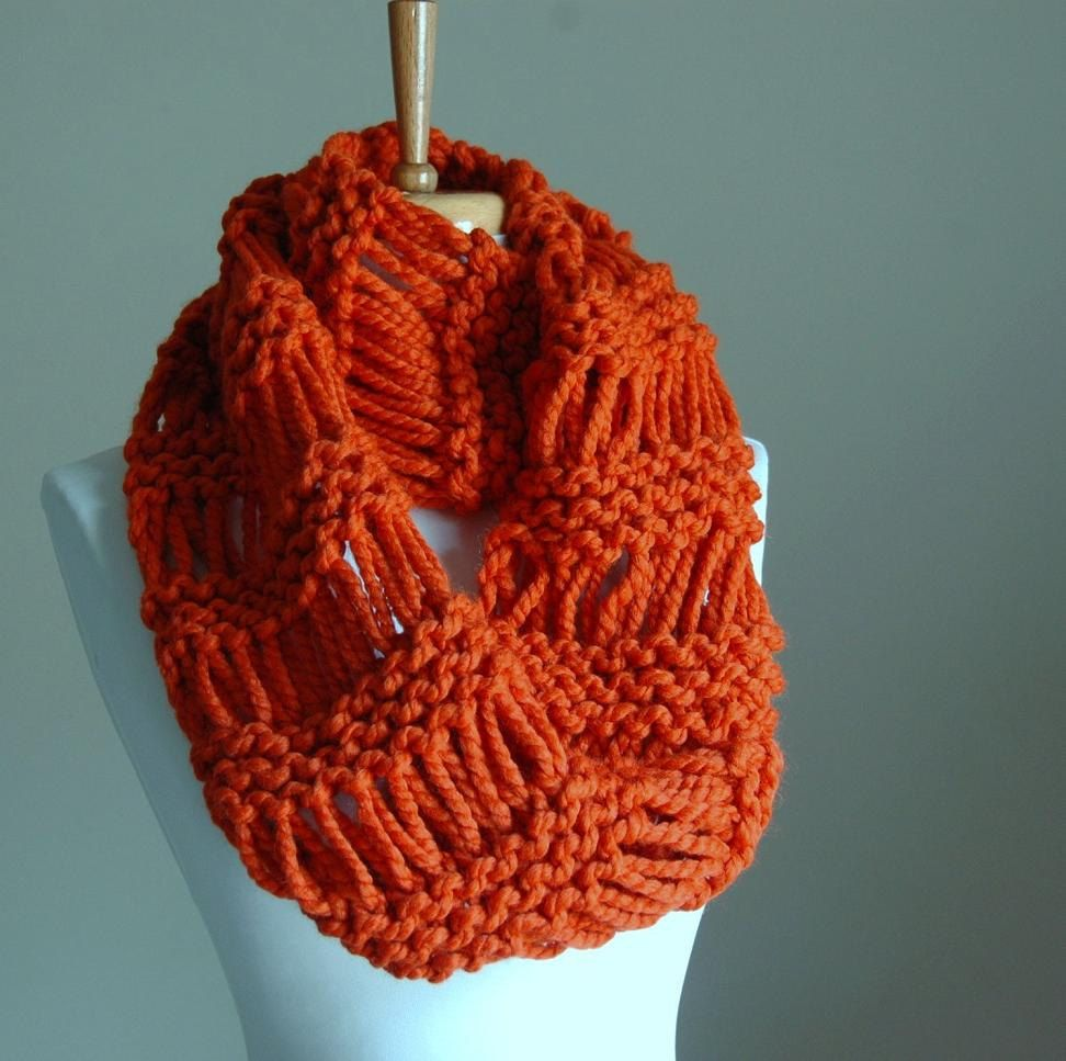 Chunky scarf knit scarf pumpkin orange infinity scarf circle chunky knit infinity scarf drop stitch in pumpkin by phylphil 4900 bankloansurffo Choice Image
