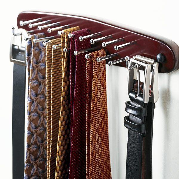 Walnut Wooden Tie Belt Rack Belt Rack Belt Organizer Tie Hanger