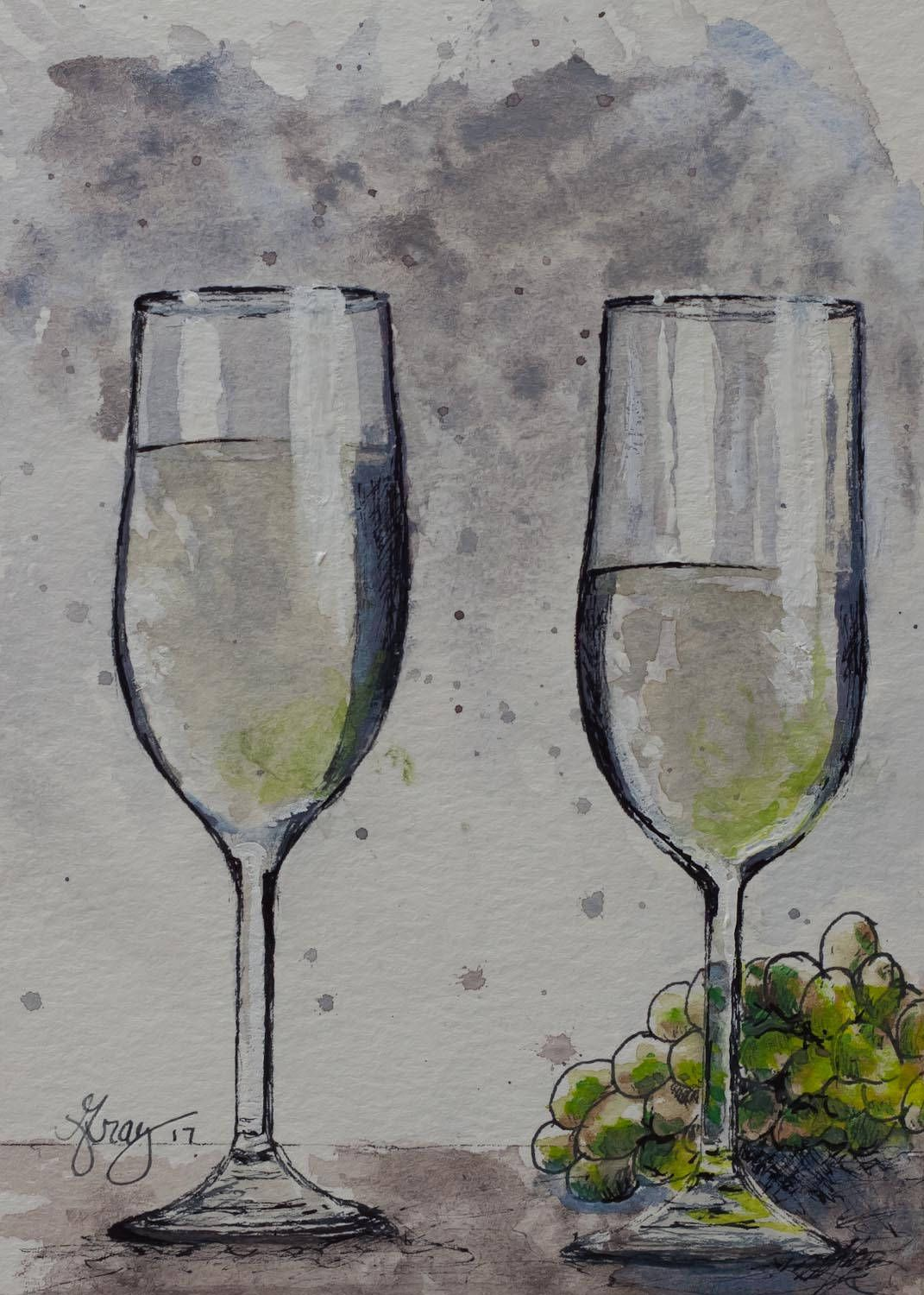 White wine glasses and grapes still life original painting wine