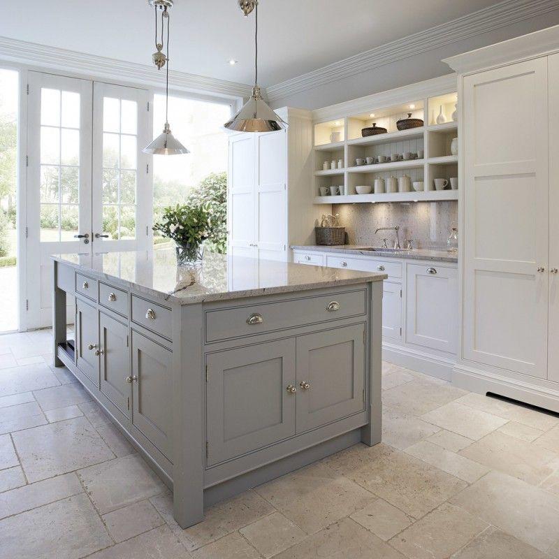 Grey Kitchen White Worktop: Transitional Kitchen Idea With Grey Kitchen Island With