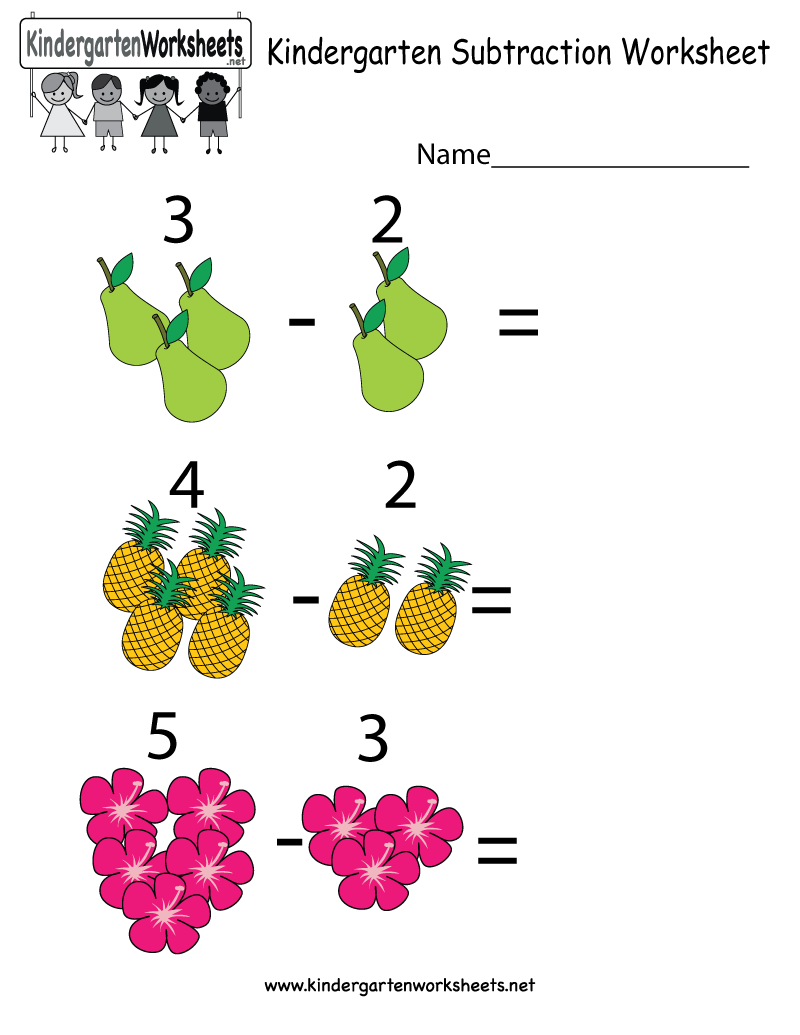 This is a fun image subtraction worksheet for kindergarteners. You ...