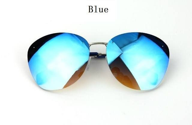 New Vintage Rimless Sunglasses; Women Sun Glasses Reflective Coating; Female Fashion Eyewear;