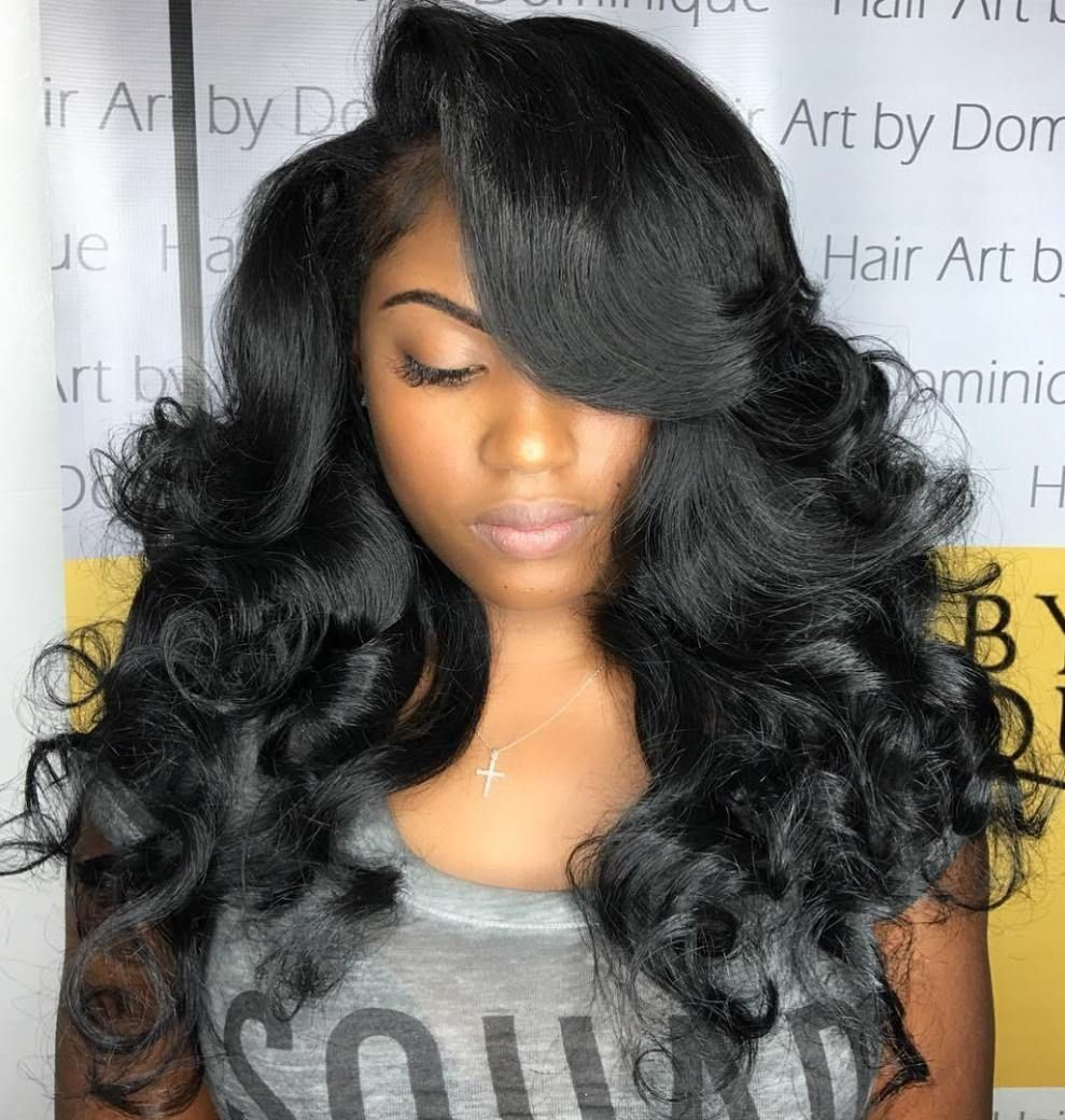 long black curled hairstyle  Weave hairstyles, Long weave