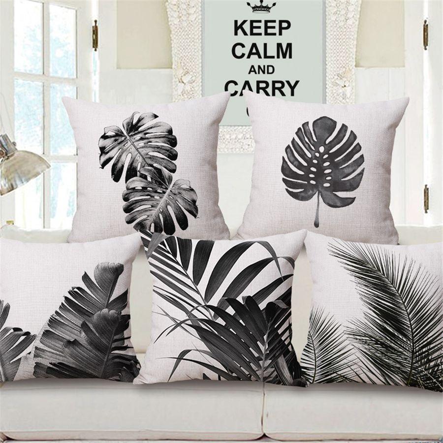 Black and white green plant decorative leaf velvet cushion cover