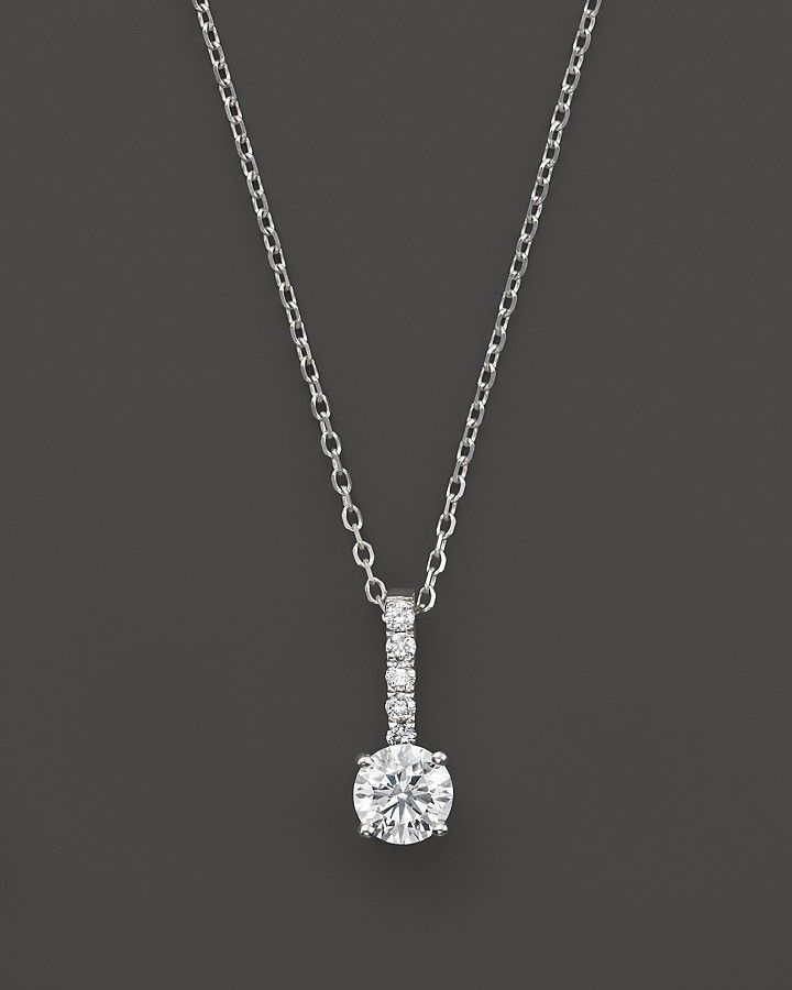 Bloomingdales diamond solitaire pendant necklace with pav bail in bloomingdales diamond solitaire pendant necklace with pav bail in 14k white gold 50 ct aloadofball Choice Image