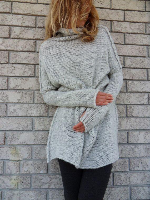 Oversized / Slouchy / Bulky knit sweater. Alpaca/Wool women sweater ...