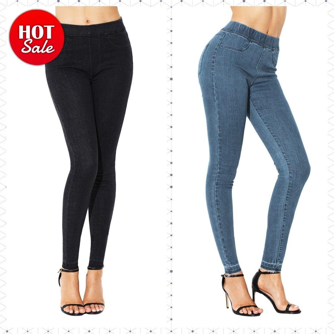 Black elastic waist jeans stretch pants for women lknr