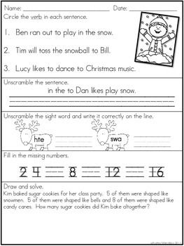 December Morning Work - First Grade   Holiday Activities ...