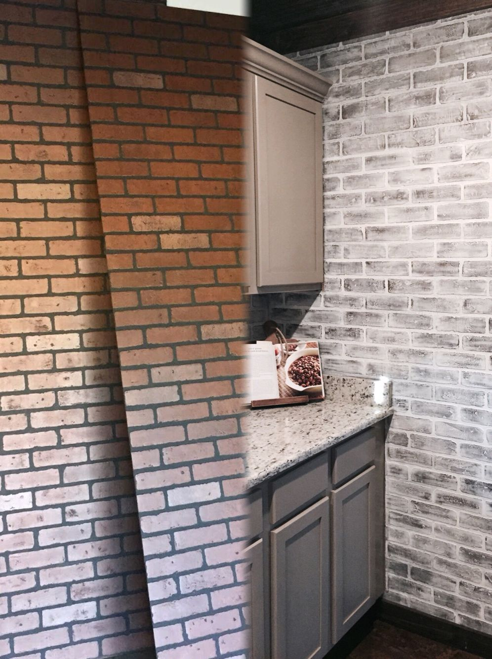 Before and After Lowes brick panel painted white. Brick backsplash ...