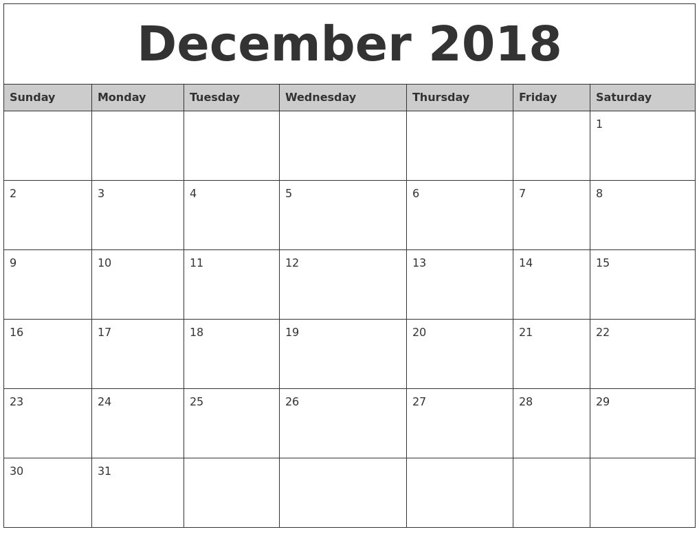 December 2018 Calendar Printable Template Calendar Printables