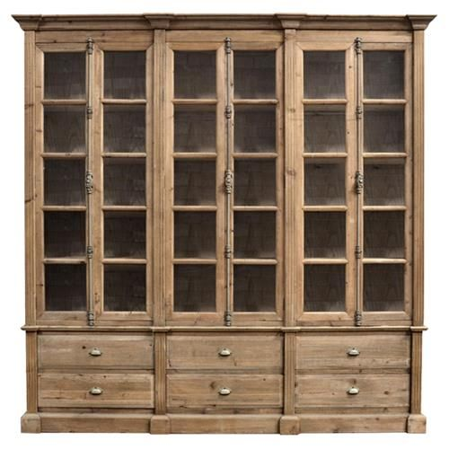 Dustin French Country Brown Pine Wood 6 Door Bookcase