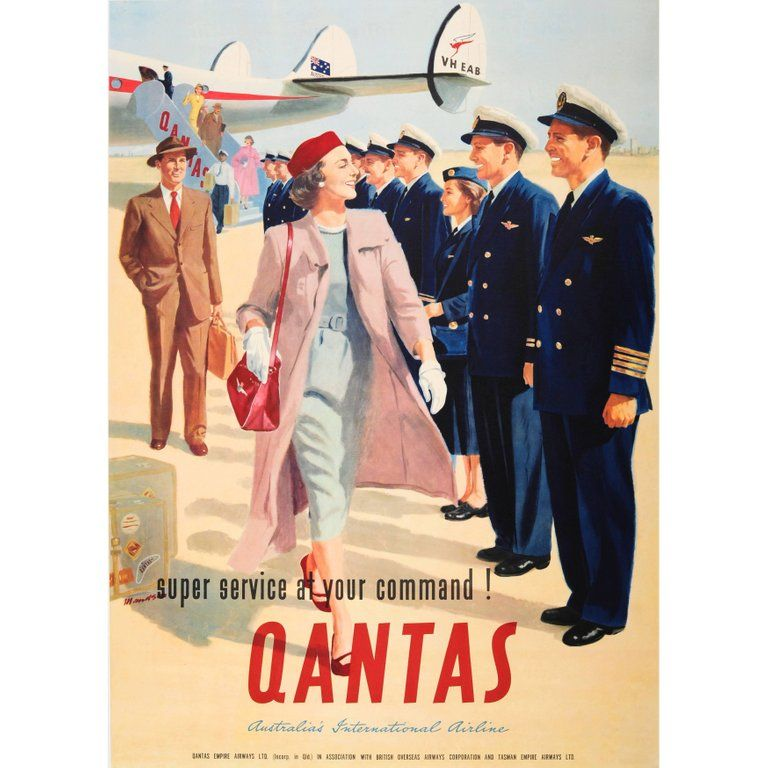 Mandson Posters - Vintage Airline Travel Poster Qantas - At