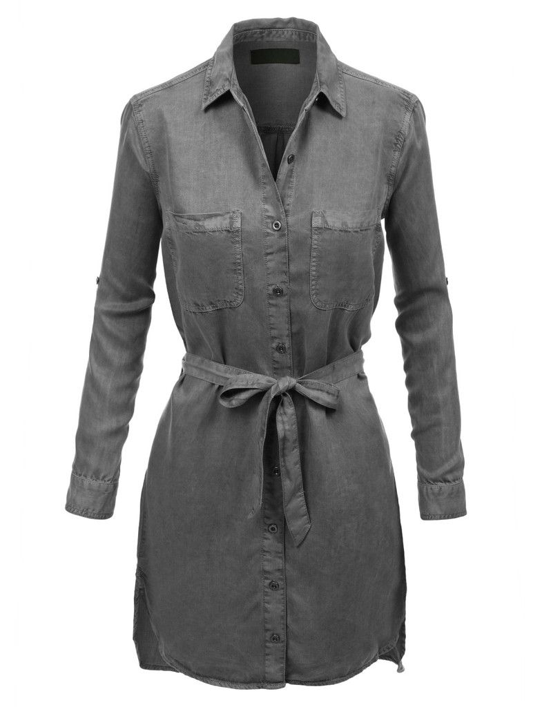 LE3NO Womens Classic Vintage Chambray Shirt Dress with Belt