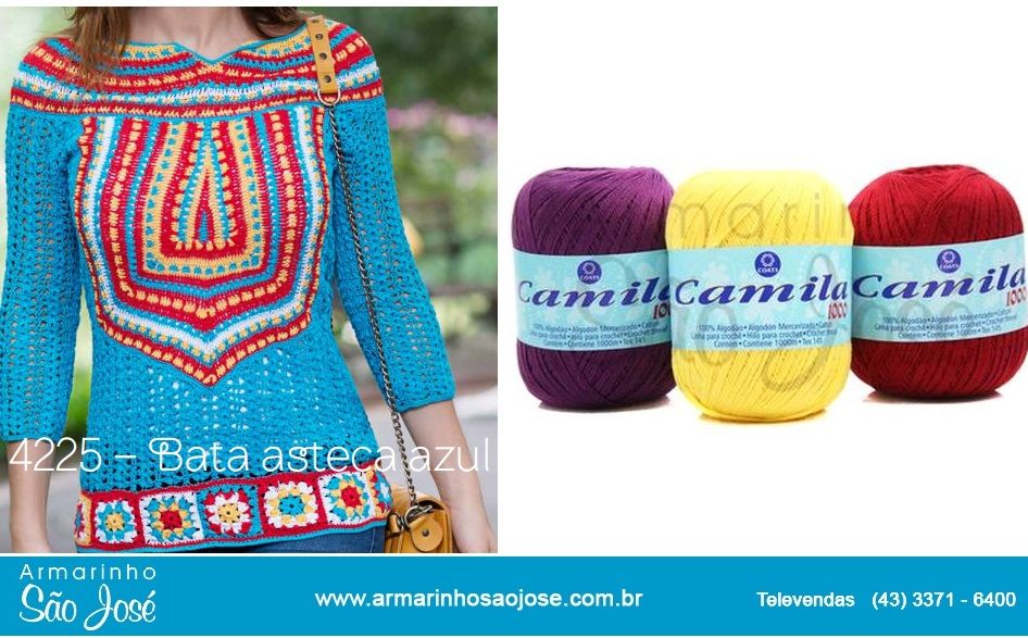 Uma Linda Blusa Estilo Asteca feita em Crochê com linha Camila 1000.   Uma peça super casual - ficou Lindo!   Todos os Gráficos aqui:     ...