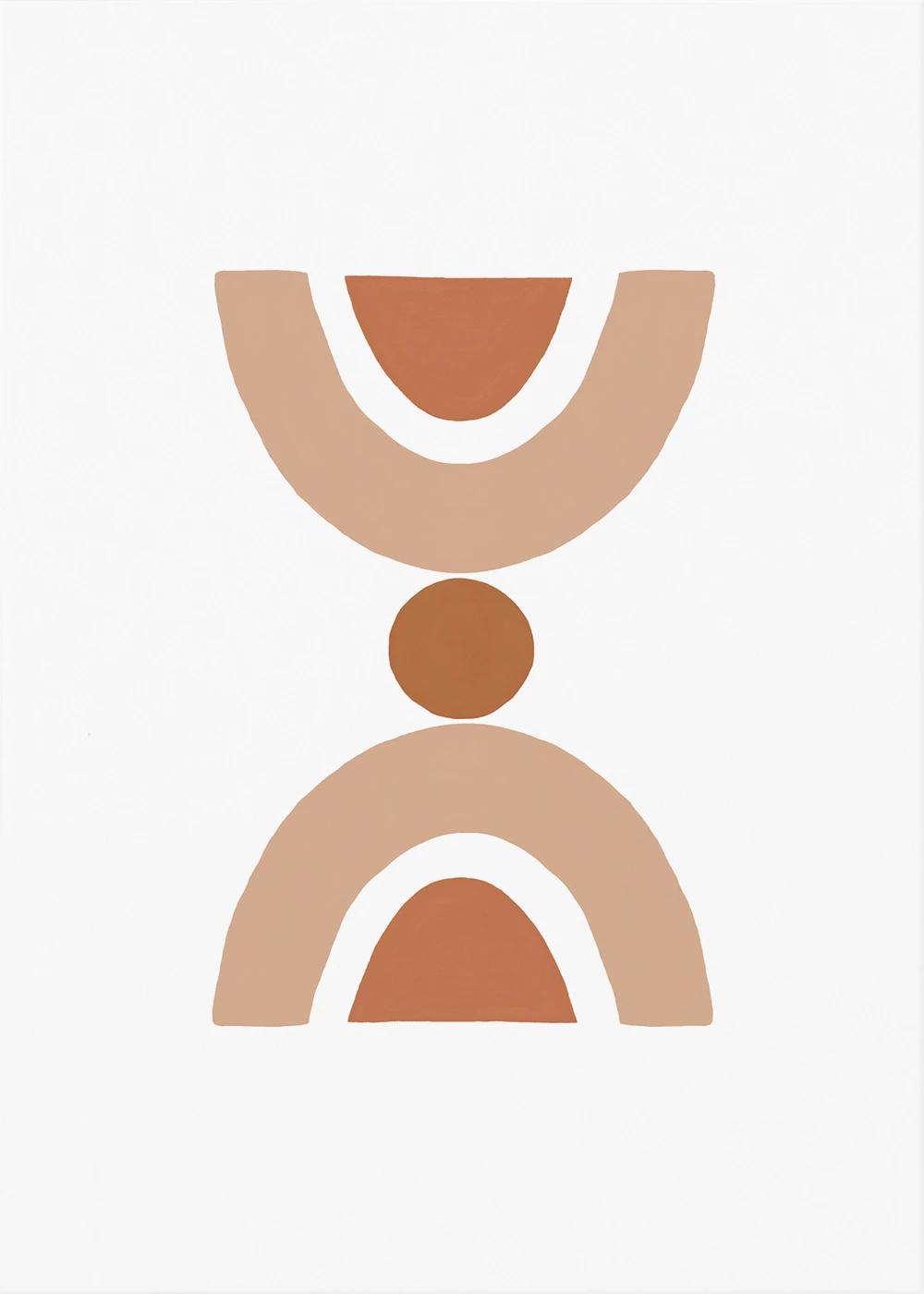 Geometric Burnt Orange Wall Art, Abstract Figures Print