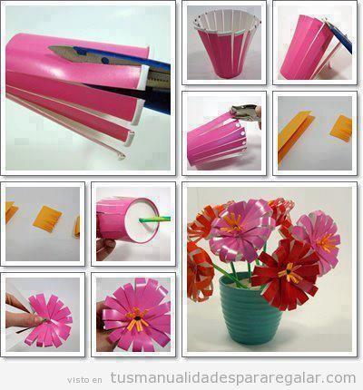 C mo hacer flores con vasos de pl stico manualidades - Manualidades con vasos de plastico ...