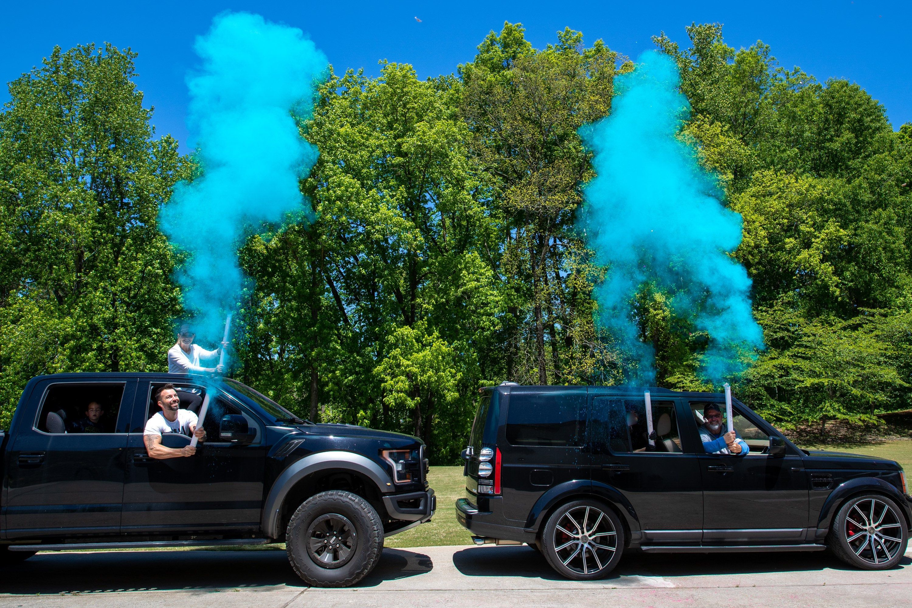Drive by birthday party parade cannons 24 smoke powder