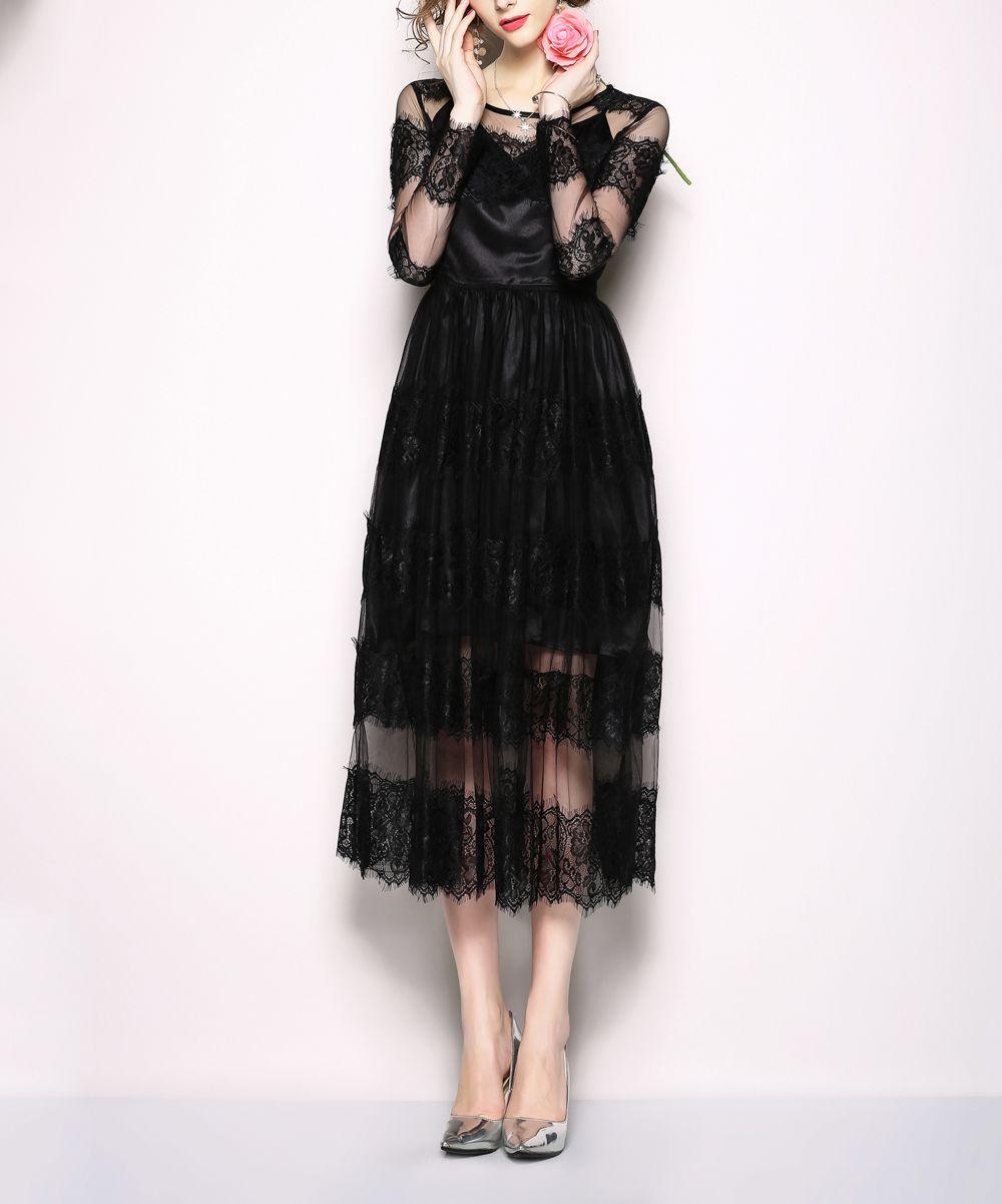 Kaimilan Black Lace Sheer Overlay Dress Women Zulily Sheer Overlay Dress Black Lace Overlay Dress Designer Outfits Woman [ 1201 x 1000 Pixel ]