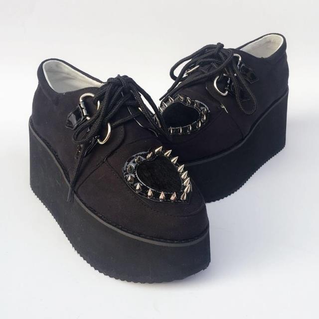Heart Rivet High Platform Lolita Shoes