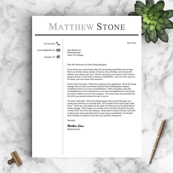 Pages Resume Template Professional Resume Template For Word & Pages One Two And  Cv