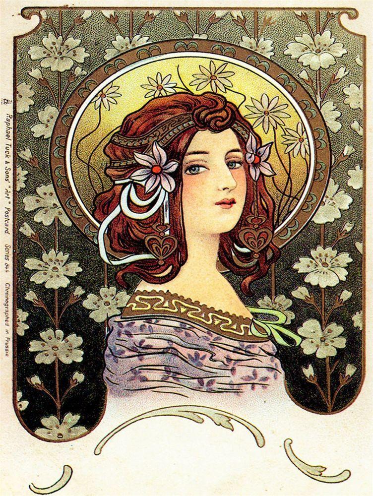 Открытки арт-нуво, цветами хризантемы подарок
