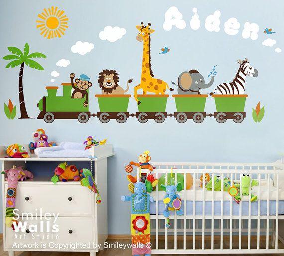 Personalized Safari Train Wall Decal Jungle Animals Train Wall - Kids wall decals jungle