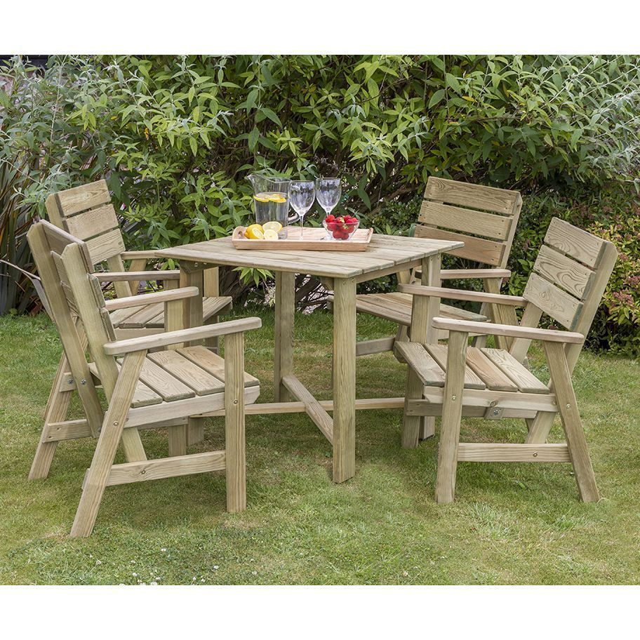 4 Seater Outdoor Dining Set Timber Square Table Chairs Wooden Garden Furniture Garden Dining Set Outdoor Furniture Sets Patio Furniture Sets