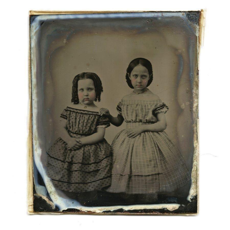 Melainotype 1860s Tin Fashion History Period Fashion Sisters Crinolines Superb | eBay