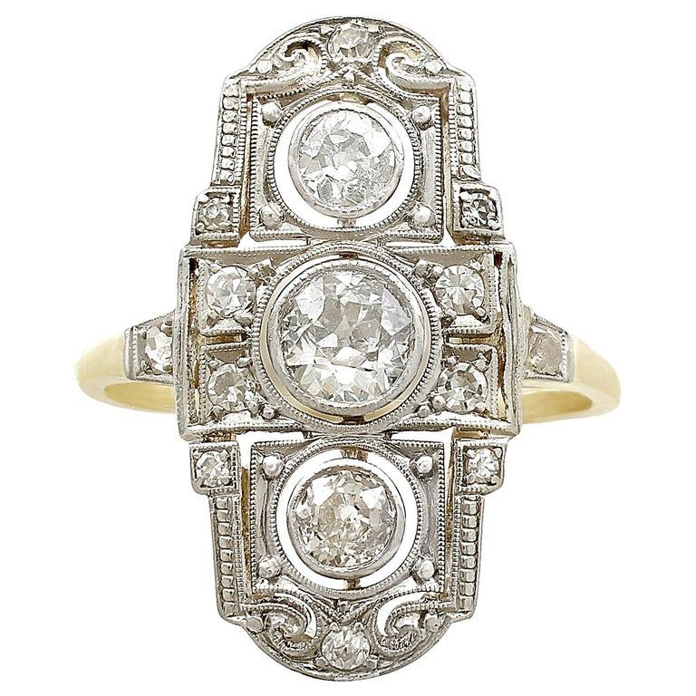Antique 1920s Diamond And Yellow Gold Dress Ring In 2020 Art Deco Diamond Rings Vintage Diamond Rings Unique Diamond Rings