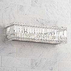 Possini Euro Crystal Columns 23 Wide Chrome Bath Light