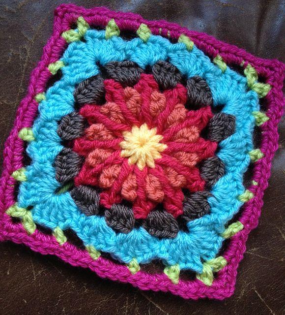 Chitweeds H A P P Y Colors Free Crochet Square Crochet Square