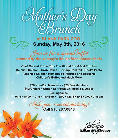 Mother's Day Brunch | Blank Park Zoo | Mother's & Father's