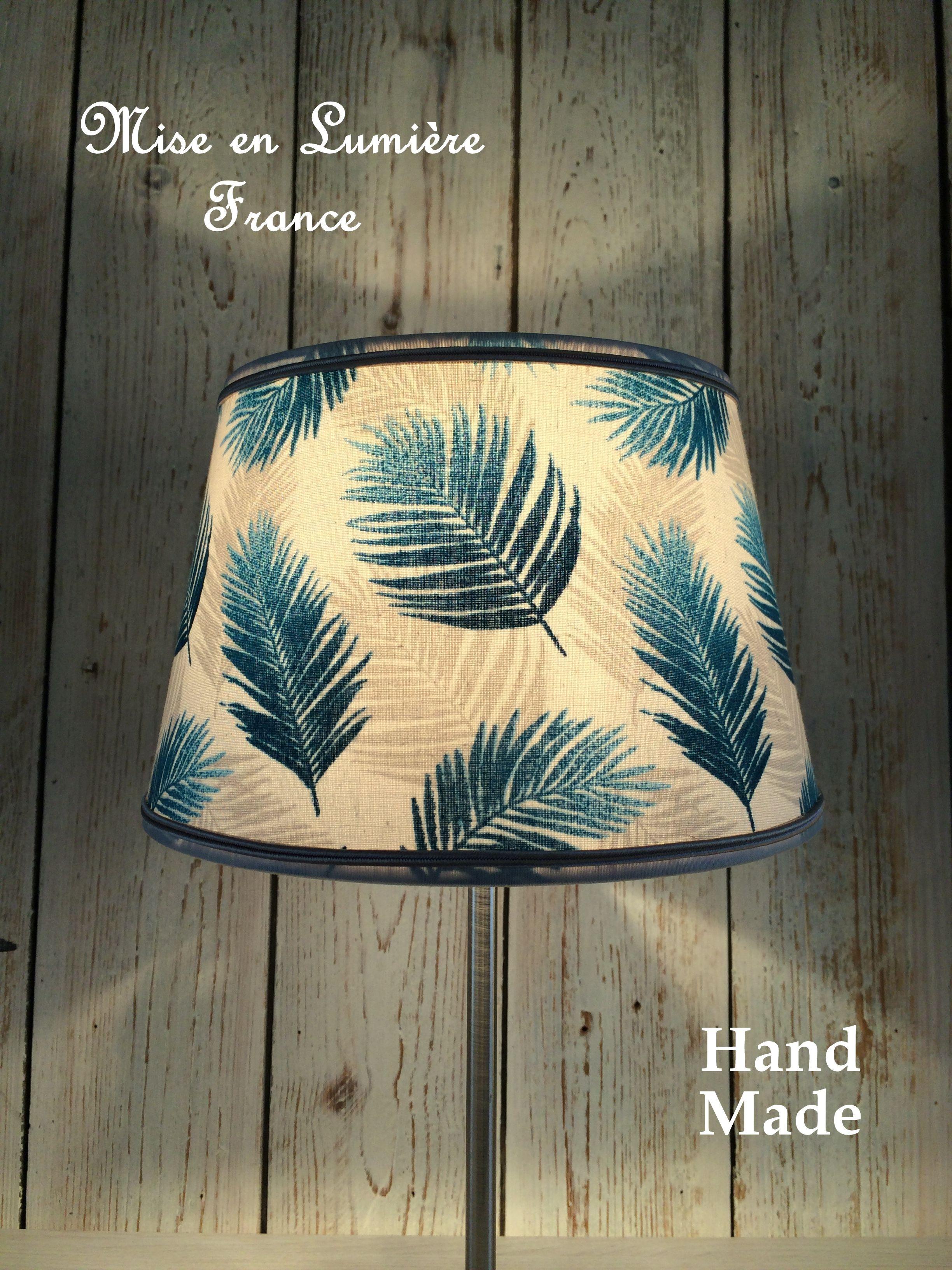 Abat Jour Tulipe Tissu abat-jour forme empire tissu feuilles de palmier bleu