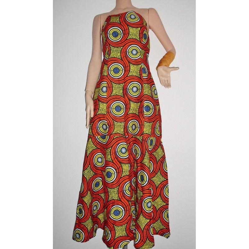 Mode robe bustier en pagne