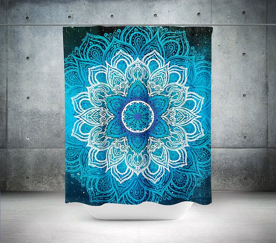 Mandala Shower CurtainBoho DecorHippie CurtainBohemian CurtainBathroom DecorBoho ChicTeal Curtains