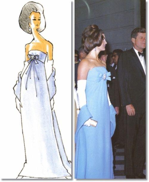 Jackie Kennedy 1962 Oleg Cini Blue Strapless Dress And Sketch