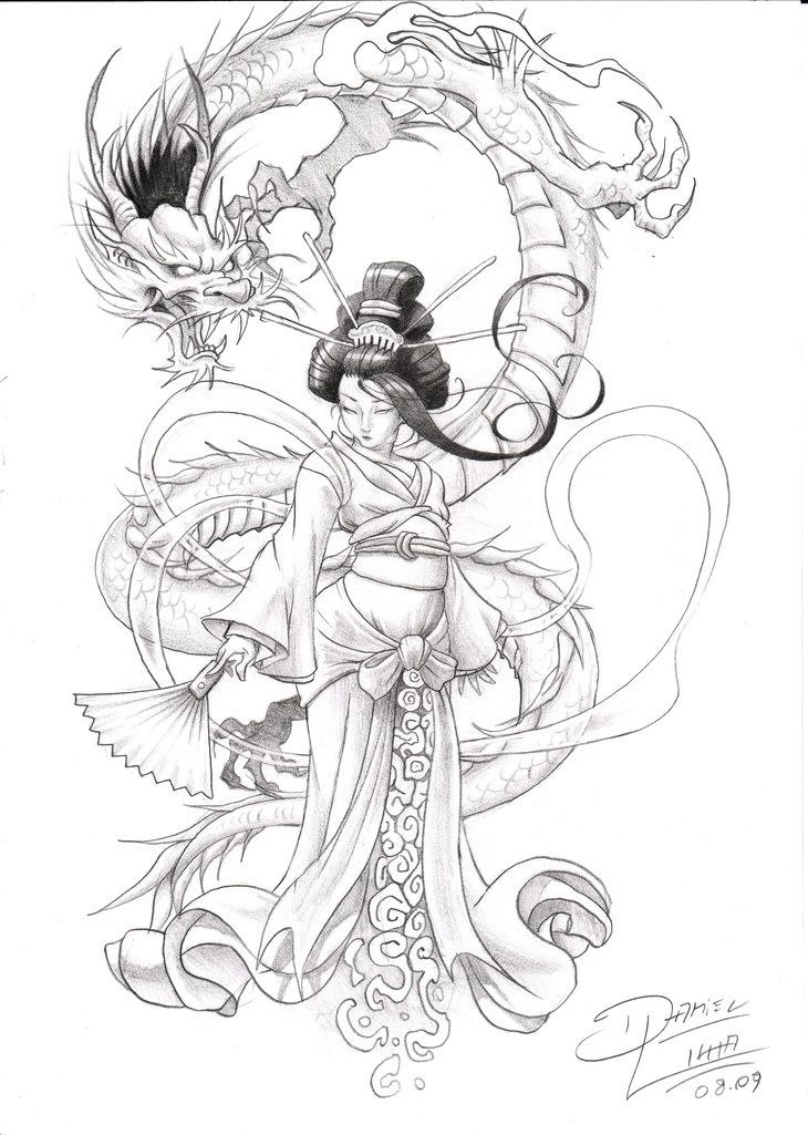 Dragon | drawings | Pinterest | Tatuajes, Geishas y Dragones