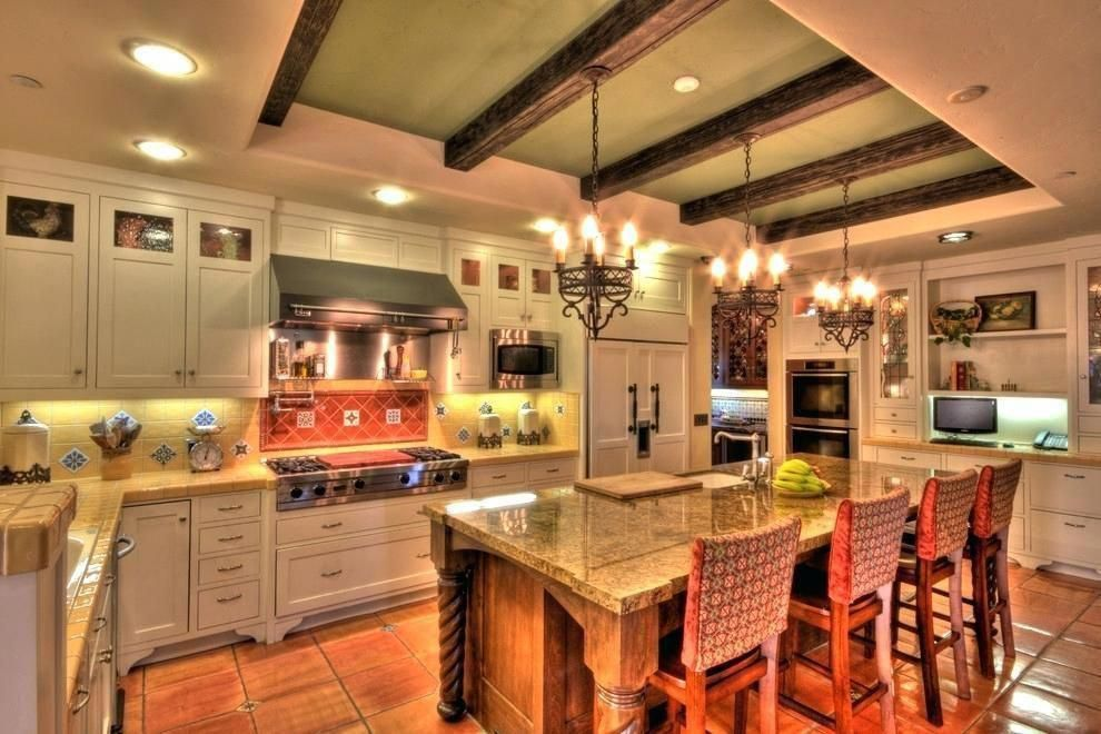 Spanish Style Kitchen Wood Floor Tiles With Old Design Countertops Spanishstylehomes